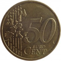 reverse of 50 Euro Cent - 1'st Map (2002 - 2006) coin with KM# 212 from Germany. Inscription: 50 EURO CENT LL