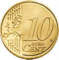 reverse of 10 Euro Cent - 2'nd Map (2007 - 2015) coin with KM# 254 from Germany. Inscription: 10 EURO CENT LL