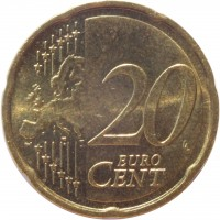 reverse of 20 Euro Cent - 2'nd Map (2007 - 2016) coin with KM# 255 from Germany. Inscription: 20 EURO CENT LL