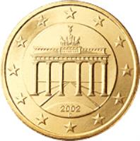 obverse of 50 Euro Cent - 2'nd Map (2007 - 2015) coin with KM# 256 from Germany. Inscription: 2007 A