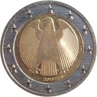 obverse of 2 Euro - 2'nd Map (2008 - 2017) coin with KM# 258 from Germany. Inscription: 2008 J