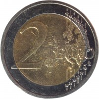 reverse of 2 Euro - 2'nd Map (2008 - 2017) coin with KM# 258 from Germany. Inscription: 2 EURO LL