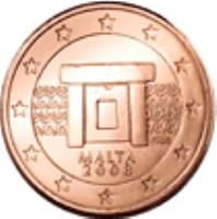 obverse of 1 Euro Cent (2008 - 2015) coin with KM# 125 from Malta. Inscription: NGB MALTA 2008 F