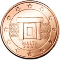 obverse of 5 Euro Cent (2008 - 2015) coin with KM# 127 from Malta. Inscription: MALTA 2008 NGB