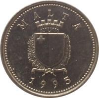 obverse of 2 Cents (1991 - 2007) coin with KM# 94 from Malta. Inscription: MALTA REPUBLIKA TA'MALTA 1998