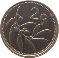 reverse of 2 Cents (1991 - 2007) coin with KM# 94 from Malta. Inscription: 2 c