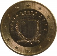 obverse of 50 Euro Cent - 2'nd Map (2008 - 2015) coin with KM# 130 from Malta. Inscription: MALTA 2008 REPUBBLIKA TA' MALATA