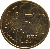 reverse of 50 Euro Cent - 2'nd Map (2008 - 2015) coin with KM# 130 from Malta. Inscription: 50 EURO CENT LL