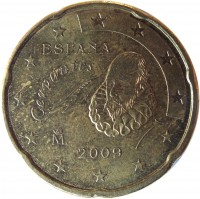 obverse of 20 Euro Cent - Juan Carlos I - 2'nd Map; 1'st Type (2007 - 2009) coin with KM# 1071 from Spain. Inscription: ESPAÑA Cervantes M 2009