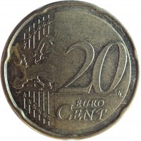 reverse of 20 Euro Cent - Juan Carlos I - 2'nd Map; 1'st Type (2007 - 2009) coin with KM# 1071 from Spain. Inscription: 20 EURO CENT LL