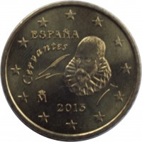 obverse of 50 Euro Cent - Juan Carlos I - 2'nd Map; 1'st Type (2007 - 2009) coin with KM# 1072 from Spain. Inscription: Cervantes ESPAÑA 2007 M