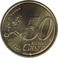 reverse of 50 Euro Cent - Juan Carlos I - 2'nd Map; 1'st Type (2007 - 2009) coin with KM# 1072 from Spain. Inscription: 50 EURO CENT LL