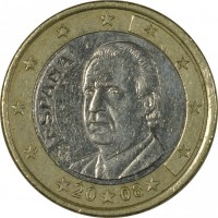 obverse of 1 Euro - Juan Carlos I - 2'nd Map; 1'st Type (2007 - 2009) coin with KM# 1073 from Spain. Inscription: ESPAÑA M 20 07