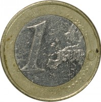 reverse of 1 Euro - Juan Carlos I - 2'nd Map; 1'st Type (2007 - 2009) coin with KM# 1073 from Spain. Inscription: 1 EURO LL