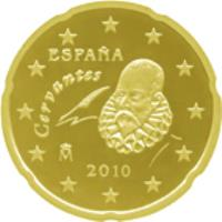 obverse of 20 Euro Cent - Juan Carlos I - 2'nd Map; 2'nd Type (2010 - 2015) coin with KM# 1148 from Spain. Inscription: Cervantes ESPAÑA 2010 M