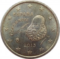 obverse of 50 Euro Cent - Juan Carlos I - 2'nd Map; 2'nd Type (2010 - 2017) coin with KM# 1149 from Spain. Inscription: ESPAÑA Cervantes M 2013