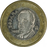 obverse of 1 Euro - Juan Carlos I - 2'nd Map; 2'nd Type (2010 - 2015) coin with KM# 1150 from Spain. Inscription: ESPANA M 2011