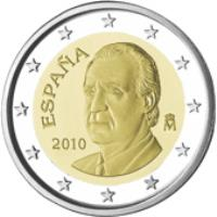obverse of 2 Euro - Juan Carlos I - 2'nd Map; 2'nd Type (2010 - 2015) coin with KM# 1151 from Spain. Inscription: ESPANA 2010 M