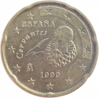 obverse of 20 Euro Cent - Juan Carlos I - 1'st Map; 1'st Type (1999 - 2006) coin with KM# 1044 from Spain. Inscription: Cervantes ESPAÑA 1999 M
