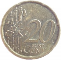 reverse of 20 Euro Cent - Juan Carlos I - 1'st Map; 1'st Type (1999 - 2006) coin with KM# 1044 from Spain. Inscription: 20 EURO CENT LL
