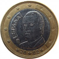 obverse of 1 Euro - Juan Carlos I - 1'st Map; 1'st Type (1999 - 2006) coin with KM# 1046 from Spain. Inscription: ESPAÑA M 20 02