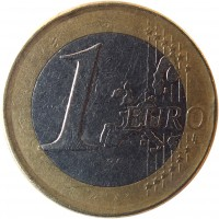 reverse of 1 Euro - Juan Carlos I - 1'st Map; 1'st Type (1999 - 2006) coin with KM# 1046 from Spain. Inscription: 1 EURO LL