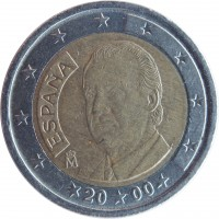 obverse of 2 Euro - Juan Carlos I - 1'st Map; 1'st Type (1999 - 2006) coin with KM# 1047 from Spain. Inscription: ESPAÑA M 20 00