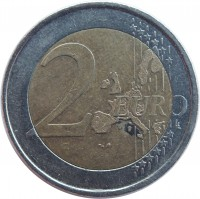 reverse of 2 Euro - Juan Carlos I - 1'st Map; 1'st Type (1999 - 2006) coin with KM# 1047 from Spain. Inscription: 2 EURO LL