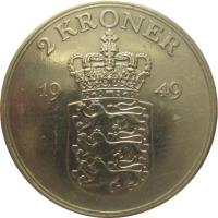 reverse of 2 Kroner - Frederik IX (1947 - 1960) coin with KM# 838 from Denmark. Inscription: 2 KRONER 19 47