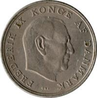 obverse of 5 Kroner - Frederik IX (1960 - 1972) coin with KM# 853 from Denmark. Inscription: FREDERIK IX KONGE AF DANMARK C ♥ S