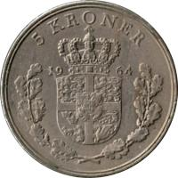 reverse of 5 Kroner - Frederik IX (1960 - 1972) coin with KM# 853 from Denmark. Inscription: 5 KRONER 19 61