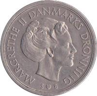 obverse of 5 Kroner - Margrethe II (1973 - 1988) coin with KM# 863 from Denmark. Inscription: MARGRETHE II DANMARKS DRONNING S ♥ B
