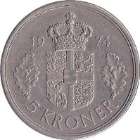 reverse of 5 Kroner - Margrethe II (1973 - 1988) coin with KM# 863 from Denmark. Inscription: 19 73 5 KRONER
