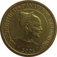 obverse of 10 Kroner - Margrethe II - 1'st Coat of Arms; 4'th Portrait (2001 - 2002) coin with KM# 887 from Denmark. Inscription: MARGRETHE II ♥ DANMARKS DRONNING