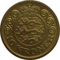 reverse of 10 Kroner - Margrethe II - 1'st Coat of Arms; 4'th Portrait (2001 - 2002) coin with KM# 887 from Denmark. Inscription: 10 KRONER