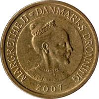 obverse of 10 Kroner - Margrethe II - 2'nd Coat of Arms; 4'th Portrait (2004 - 2010) coin with KM# 896 from Denmark. Inscription: MARGRETHE II DANMARKS DRONNING