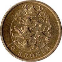 reverse of 10 Kroner - Margrethe II - 2'nd Coat of Arms; 4'th Portrait (2004 - 2010) coin with KM# 896 from Denmark. Inscription: 10 KRONER