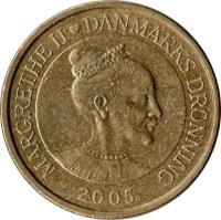 obverse of 20 Kroner - Margrethe II - 2'nd Coat of Arms; 4'th Portrait (2003 - 2009) coin with KM# 891 from Denmark. Inscription: MARGRETHE II DANMARKS DRONNING 2004