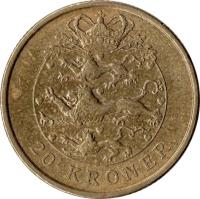 reverse of 20 Kroner - Margrethe II - 2'nd Coat of Arms; 4'th Portrait (2003 - 2009) coin with KM# 891 from Denmark. Inscription: 20 KRONER