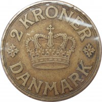 reverse of 2 Kroner - Christian X (1924 - 1941) coin with KM# 825 from Denmark. Inscription: 2 KRONER DANMARK