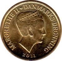 obverse of 10 Kroner - Margrethe II - 5'th Portrait (2011) coin with KM# 943 from Denmark. Inscription: MARGRETHE II ♥ DANMARKS DRONNING 2011