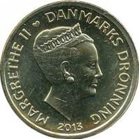 obverse of 20 Kroner - Margrethe II - Ole Rømer & The Speed of Light (2013) coin with KM# 960 from Denmark. Inscription: MARGRETHE II DANMARKS DRONNING 2013