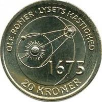 reverse of 20 Kroner - Margrethe II - Ole Rømer & The Speed of Light (2013) coin with KM# 960 from Denmark. Inscription: OLE RØMER . LYSET HASTIGHED 1675 20 KRONER
