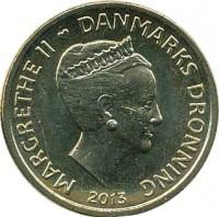 obverse of 20 Kroner - Margrethe II - Tycho Brahe & Stella Nova (2013) coin with KM# 962 from Denmark. Inscription: MARGRETHE II DANMARKS DRONNING 2013