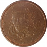obverse of 1 Euro Cent (1999 - 2015) coin with KM# 1282 from France. Inscription: RF 2009 F. COURTIADE