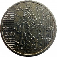 obverse of 10 Euro Cent - 1'st Map (1999 - 2006) coin with KM# 1285 from France. Inscription: RF 2000 L. JORIO d'ap. O. ROTY