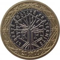 obverse of 1 Euro - 1'st Map (1999 - 2006) coin with KM# 1288 from France. Inscription: LIBERTÉ ÉGALITÉ FRATERNITÉ RF J. JIMENEZ 20 01
