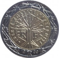 obverse of 2 Euro - 1'st Map (1999 - 2006) coin with KM# 1289 from France. Inscription: LIBERTÉ ÉGALITÉ FRATERNITÉ J. JIMENEZ R F 20 01