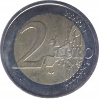 reverse of 2 Euro - 1'st Map (1999 - 2006) coin with KM# 1289 from France. Inscription: 2 EURO LL