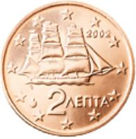 obverse of 2 Euro Cent (2002 - 2017) coin with KM# 182 from Greece. Inscription: 2 ΛΕΠΤΑ 2002 ΓΣ